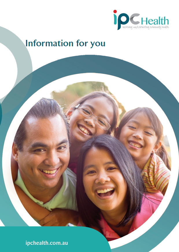 Front page of Information for you brochure showing a family with two children smiling
